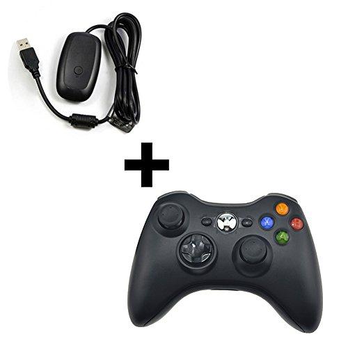 Xbox 360 Controller Xbox 360 Receiver Wireless Gamepad Joysticks Remote Controller Adapter for Microsoft Xbox 360 Console PC Windows 7 8 XP (Controllor +Receiver)