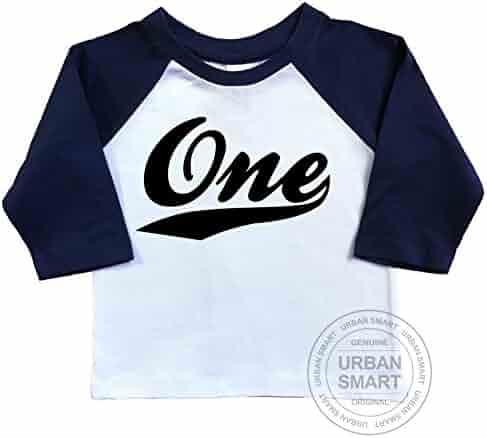 1st Birthday Raglan Shirt By Urban Smart Number One With Swoosh Design
