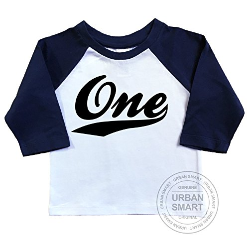 (1st Birthday Raglan Shirt for Baby Or Infant. Number One with Swoosh Design. (12-18 Months, White Body/Navy)