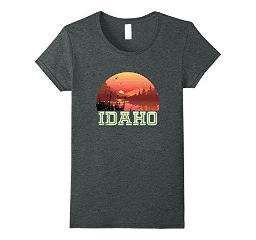 Womens Vintage Idaho Outdoors Adventures Hiking T Shirt Small Dark Heather