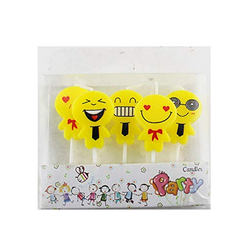 Medium Pendant Lighting Outdoor (YIYEZI 5Pcs Cute Emoji Cake Candles Birthday Wedding Party Celebration Mini Lighting Set Candle Gifts (Yellow))