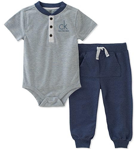 0fa51031 Calvin Klein Baby Boys 2 Pieces Creeper Pant Set, Blue, 24M - Buy Online in  Oman. | Apparel Products in Oman - See Prices, Reviews and Free Delivery in  ...