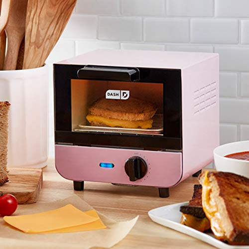 Dash DMTO100GBPY04 Mini Toaster Oven Cooker for for Bread, Bagels, Cookies, Pizza, Paninis & More with Baking Tray, Rack, Auto Shut Off Feature, Yellow