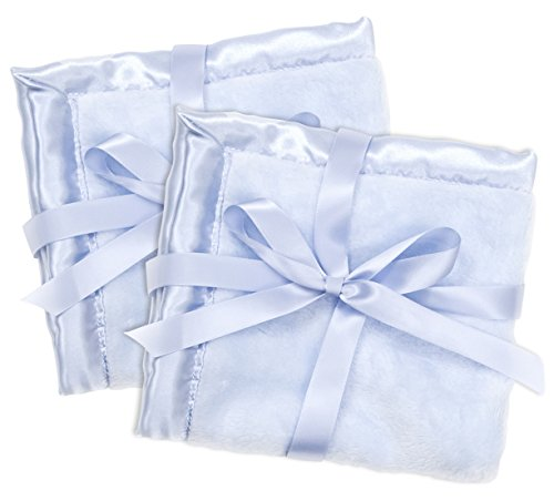 2 Blue Security Blankets, Baby Blankie Small Mini Blanket, 15 Inches x 15 Inches, Set of 2, Satin Trim, 2 ()