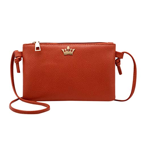 Crown Leather Bags Crossbody Fashion Bafaretk Messenger Bag BROWN Women Bags Solid Shoulder Coin 4qzxE