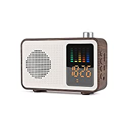 Sysmarts Wooden Retro Stereo Wireless Portable Bluetooth Speakers with FM Radio Digital Alarm Clock Supported TF Card/AUX-in USB Charging (Walnut Wood)