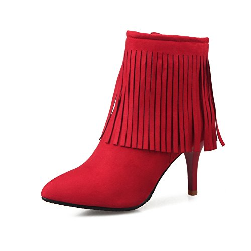 BalaMasa Ladies Tassels Winkle Pinker Stiletto Xi Shi Velvet Boots Red Cp3TnlIP