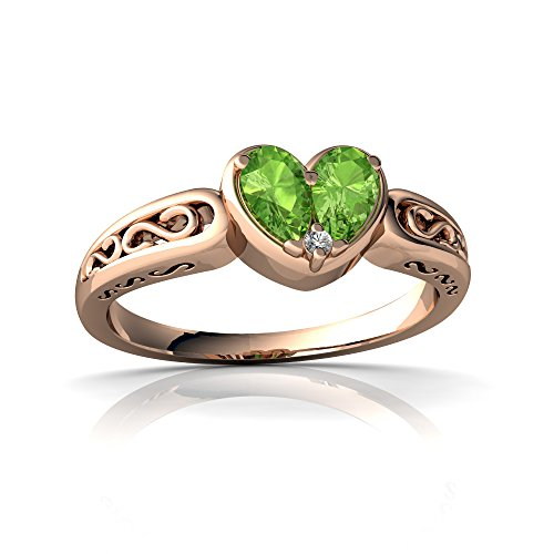 14kt Rose Gold Peridot and Diamond 5x3mm Pear filligree Heart Ring - Size 9