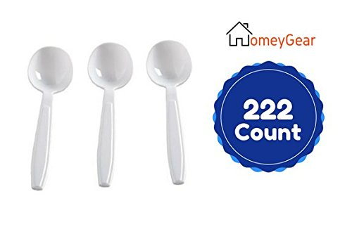 Heavy Weight Plastic White Soup Spoons Bulk Value Pack Of 222 Disposable Extra Heavy Soup Spoons 6