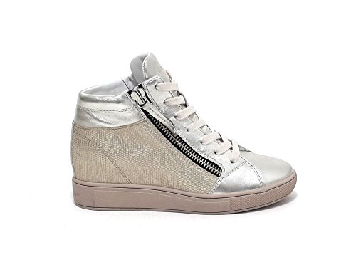 Crime donna, 25335 sneakers pelle laminata argento E7102