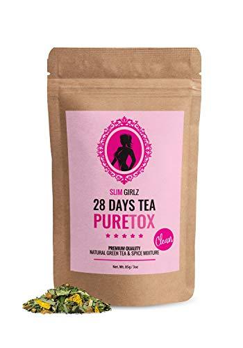 Slim Girlz Detox Tea 28 Days | Te desintoxicante Para Mujeres|Te de dieta y para perdida de grasa|Hoja suelta 85g|Suplemento Dietetico Natural Sin Aditivos Para Perdida de Peso|Complejo Herbal Activo