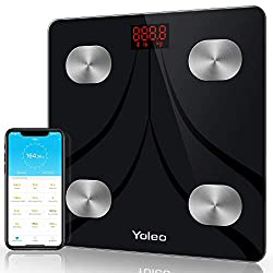 Bluetooth Body Fat Scale - Yoleo Smart Scale Bathroom Weight Scale with 13 Body Analyzer for Fat, BMI, BMR, Muscle Mass, Water Unlimited Users Wireless iOS Android APP