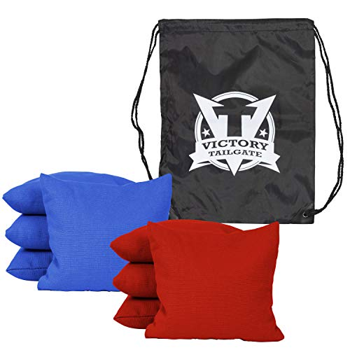 - Victory Tailgate 8 Colored Corn Filled Regulation Cornhole Bags with Drawstring Pack (4 Red, 4 Royal Blue)