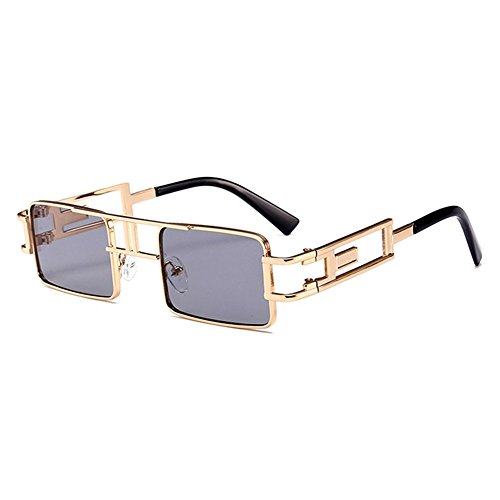 Peekaboo Steampunk Sun glasses Rectangle Men Gold Black Red Flat Top Square Sunglasses Inspired Metal Frame Glasses for Women 2018 (Black)