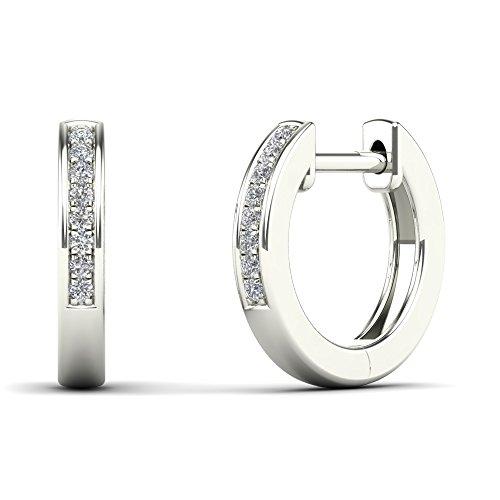 JewelAngel 10k White Gold Children's Diamond Accent Classic Hoop Earrings (H-I, I1-I2) by JewelAngel