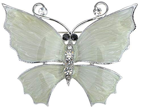 Large Silver White Filigree Butterfly Crystal Rhinestone Brooch Pin Jewelry Pin | Amount - B0261