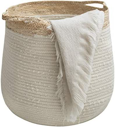 Large Blanket Basket - Corn Skin Woven Cotton Rope Storage Basket, 17.3