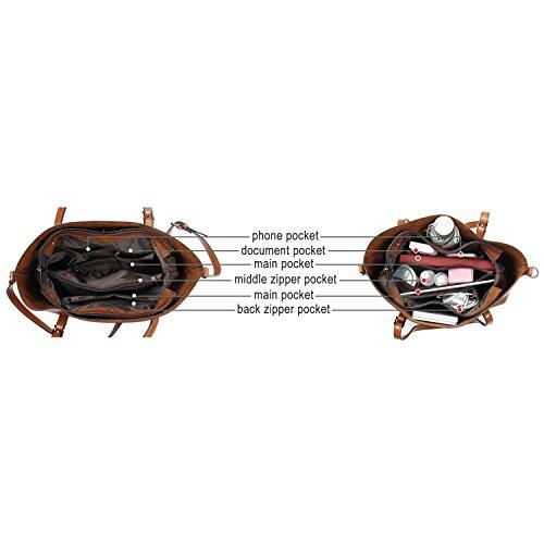 Women Bag Casual Vintage Shoulder Bag Handbags Cross Body Bag Large Capacity Bags Brown JUNDUN by JUNDUN (Image #2)