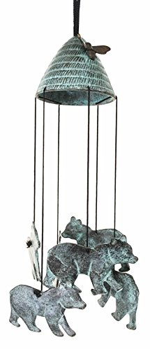 Patio Furniture Mountain Rocky - Rocky Mountain Bear and Bee Hive Abstract Art Brass Resonant Wind Chime Patio Garden Decor Great Gift for Bear Lovers Housewarming Present