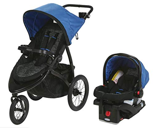 Graco Roadmaster Compact Fold Jogger Travel System Infant Baby Stroller, Blakley (Graco Fastaction Infant Car Seat)
