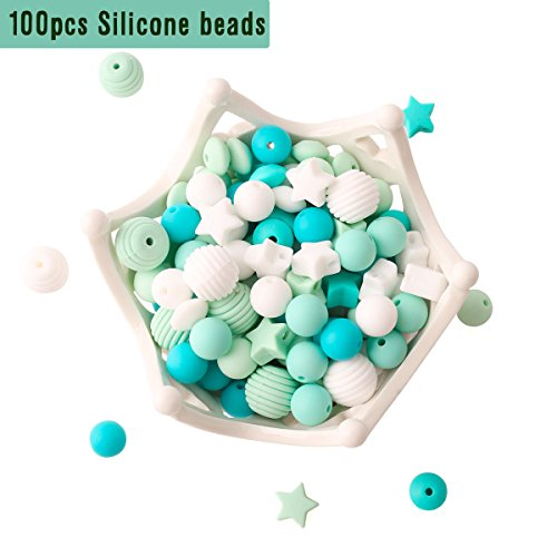 Baby Silicone Teether Beads 100pcs BPA Free Food Grade Teething Beads Blue Series DIY Jewelry Chewable Nursing Necklace Accessories