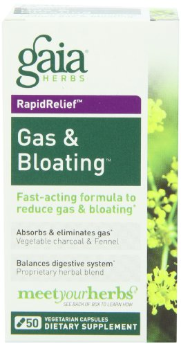 Gaia Herbs Gas and Bloating Dietary Supplement Capsules, 50 Count