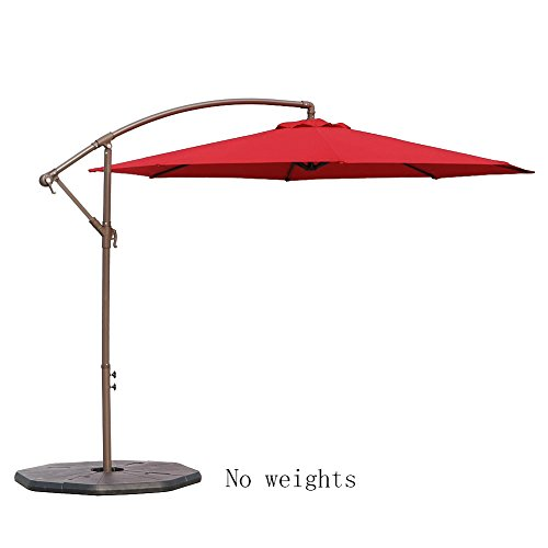 Le Papillon 10-ft Offset Hanging Patio Umbrella Aluminum Outdoor Cantilever Umbrella Crank Lift, Red [New Generation Production] (Umbrellas Large Deck)