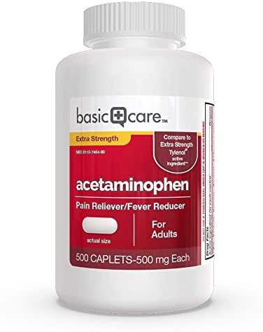 Amazon Basic Care Extra Strength Acetaminophen Caplets  500 Count