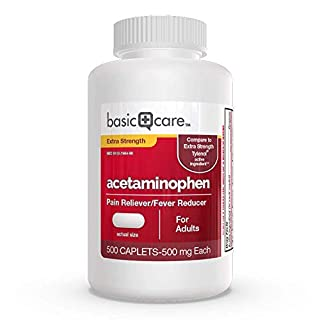 Amazon Basic Care Extra Strength Pain Relief, Acetaminophen Caplets, 500 mg, 500 Count