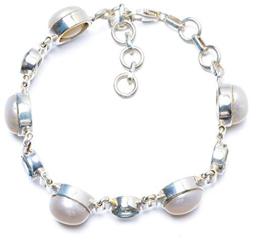 River Pearl and Blue Topaz Handmade Unique 925 Sterling Silver Bracelet 7-8 Y0138 (David Yurman Topaz Bracelet)