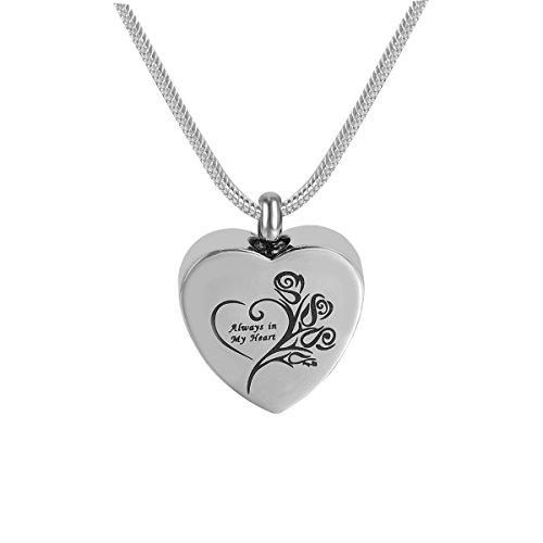 Cremation Jewelry Always in My Heart Urn Necklace Rose Memorial Keepsake Pendant Ash Locket (Rose) (Non Engraving)