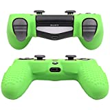 Pandaren STUDDED Anti-slip Silicone Cover Skin Set for PS4 /SLIM /PRO controller(Green controller skin x 1 + FPS PRO Thumb Grips x 8)