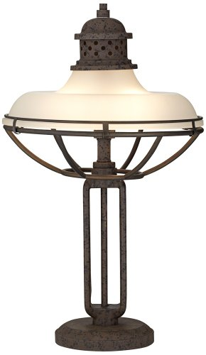 Franklin Iron Works Glass And Metal Industrial Table Lamp by Franklin Iron Works