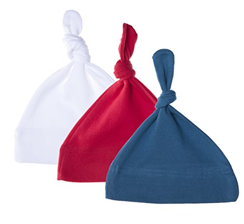 White Cotton Adjustable Hat - Mato & Hash Unisex Baby 100% Cotton Adjustable Knot Hat - 3PK Red/White/Slate Blue CA55