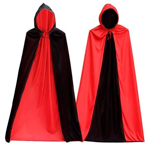 BESTOYARD Halloween Reversible Black Red Cosplay Costume Hooded Death Cloak Masquerade Party Cape Costume 150cm -