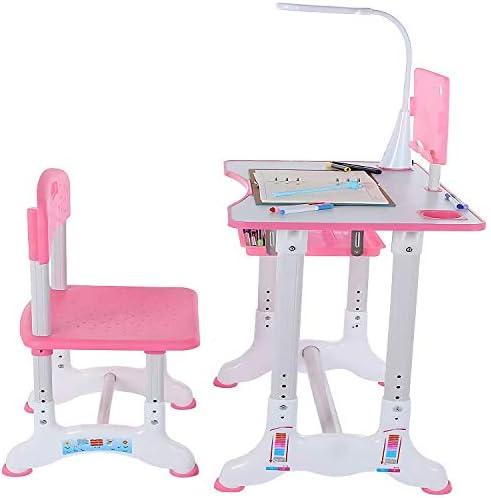 子供用デスクセット、高さ調節可能な子供用学習テーブルと椅子セット、子供用デスクと椅子セット、LEDライト付きスクール学生ライティングデスク、引き出し式引き出し収納付き