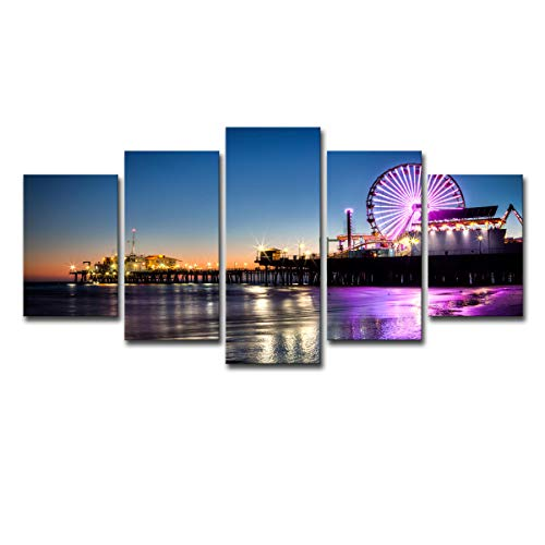 Mytinaart Modern Wall Art Canvas Pictures Home Decor Living Room 5 Pieces Set Nightscape Los Angeles Beach Pier Painting Frame Prints Ferris Wheel Poster