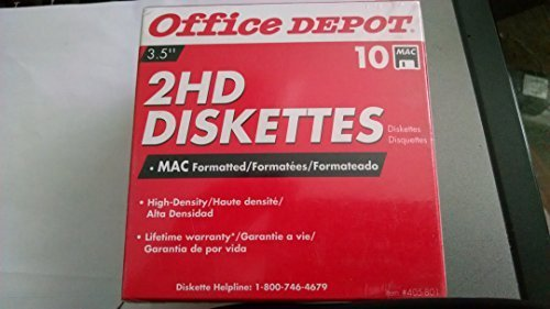 Office Depot(R) 3 1/2'' Diskettes, Mac Format, DS/HD, Black, Box Of 10