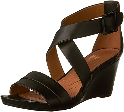 CLARKS Acina Newport Womens Wedge Sandals Black Leather 10
