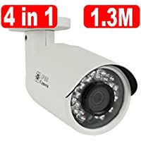 GW Security Bullet Security Camera 900TVL Outdoor Indoor Day Night Vision IR Infrared LED Home CCTV Surveillance with Free Supply Adapter (White)