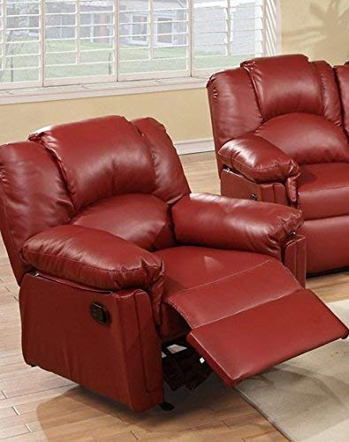 (Poundex PDEX-F6679 Espresso Bobkona Rocker Recliner in Bonded Leather, Burgundy, Red)