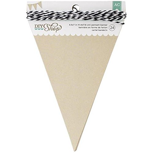 American Crafts 24-Piece Pennant DIY Shop Kraft Banner, 4.6 by 6.37-Inch