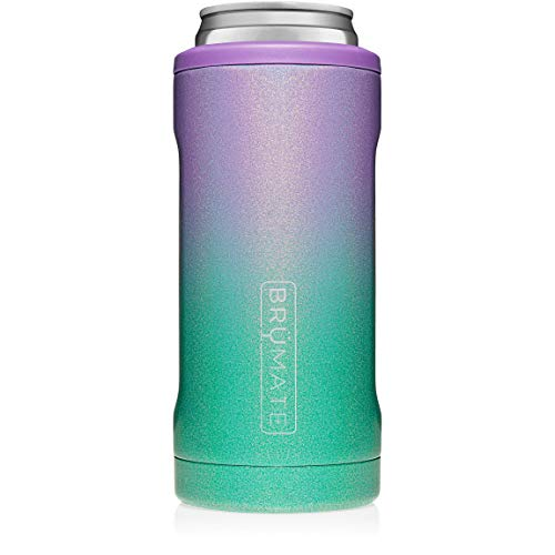 BrüMate Hopsulator Slim Double-walled Stainless Steel Insulated Can Cooler for 12 Oz Slim Cans (Glitter Mermaid) (Christmas More 21 Days Until)