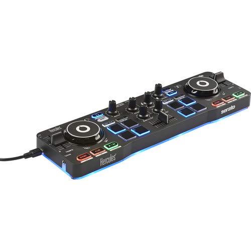 - Hercules DJControl Starlight | Pocket USB DJ Controller with Serato DJ Lite, touch-sensitive jog wheels, built-in sound card and built-in light show