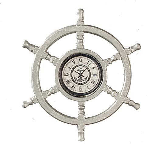 (Dollhouse Ship Helm Wheel Wall Clock Miniature 1:12 Nautical Accessory Metal)