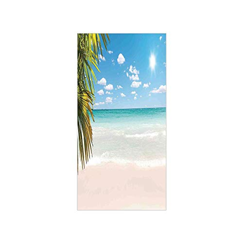 3D Decorative Film Privacy Window Film No Glue,Ocean,Dreamy Caribbean Beach with Crystal Clear Water Sky and Palm Leaves Away Print,Cream Turquoise Green,for ()