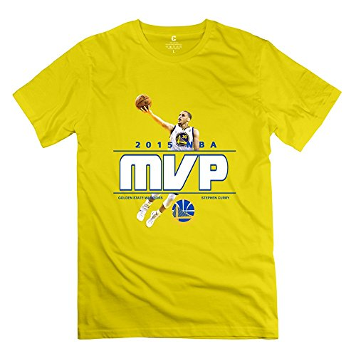 Man's Pre-cotton 2014-15 NBA MVP Golden State Warriors Stephen Curry Fitted T-shirt L Yellow