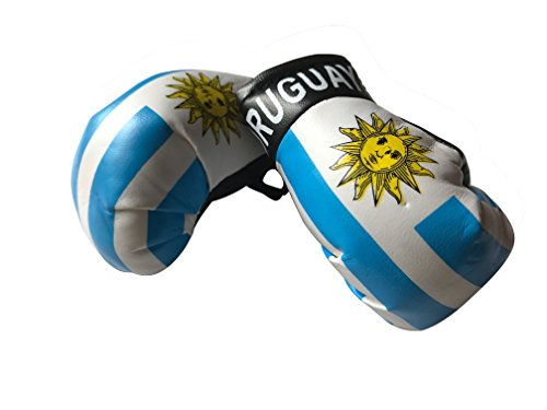 Flag Mini Small Boxing Gloves to Hang Over Car Automobile Mirror – Americas (Country: Uruguay)