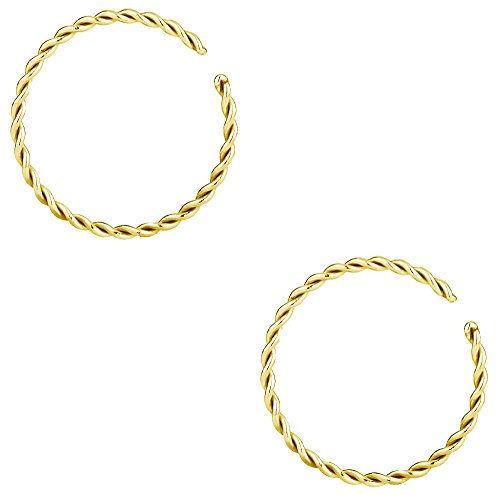 Forbidden Body Jewelry Set of 20g 10mm (5/16 Inch) Gold IP Plated Surgical Steel Braided Hoop Rings