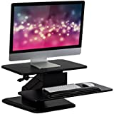 Mount-It! Sit Stand Desk Converter, Ergonomic Height Adjustable Tabletop Standing Desk, Gas Spring Monitor Riser MI-7916, Black Stand,